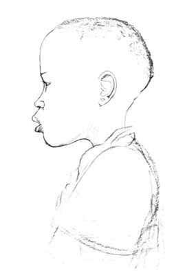 "Andrew MOTJUOADI Sketch for ""Head of a Child, 1965"", undated, unsigned - crayon drawing - 044x038 cm"