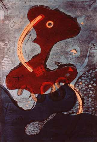 "Dirk MEERKOTTER ""Red Image"", 1980 - col. etching/aquatint - A/P I/III ©THF"