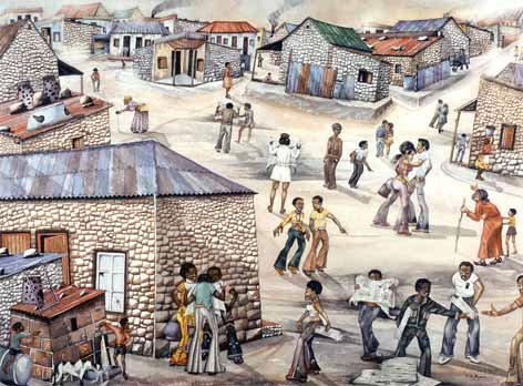 "P. David MOGANO ""Matric results in township"", 1975 - watercolour - 53x71 cm (PELMAMA)"